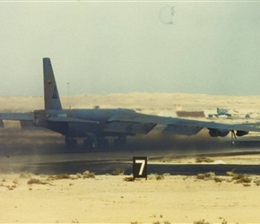 """Darkest Hour"" (A/C 59-2589) lumbers down the runway"