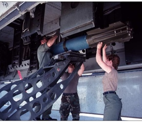 Taken at Moron, AB, some MK-82 500lbs bombs being loaded by 379th MMS personnel