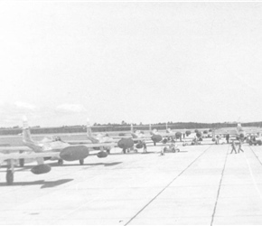 F-89 Scorpions of the 63rd FIS Lined Up For Takeoff (1955)
