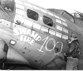 "B-17G ""SWAMP FIRE"" after completing it's 100th mission."